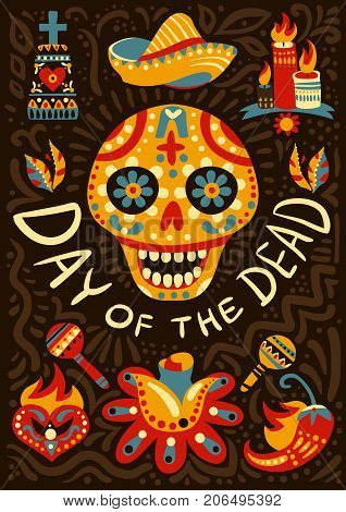 Mexican day of dead midnight festivities decorative background poster with traditional colorful ornamental skull symbol vector illustration