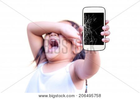 child with holding broken touch screen mobile phone