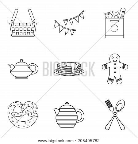 Outing icons set. Outline set of 9 outing vector icons for web isolated on white background