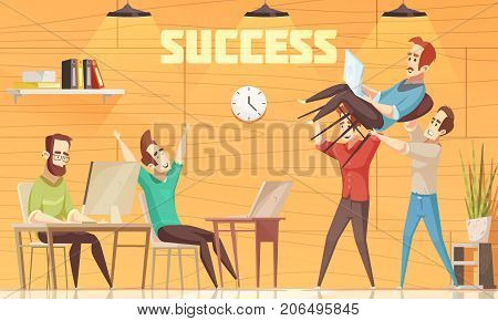 Crowdfunding flat cartoon vector illustration with happy collective of coworkers in office interior celebrating investment of business project