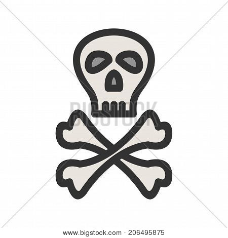 Pirate, skull, crossbones icon vector image. Can also be used for Pirate. Suitable for use on web apps, mobile apps and print media