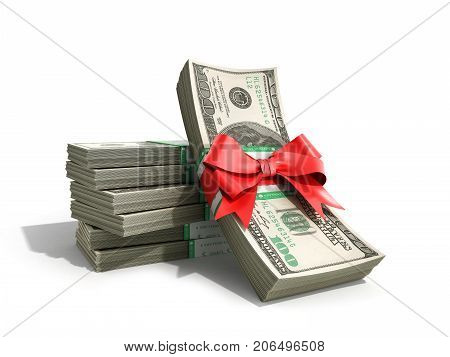 Concept Of Money Deposite Bonus Stack Of Dollar Bills Cash With Red Bow 3D Render On White Back Grou