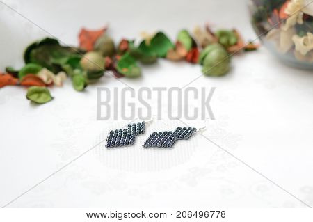 Black Beaded Earrings Hematite Color Close Up