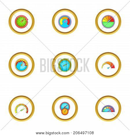 Circular meter icons set. Cartoon style set of 9 circular meter vector icons for web design