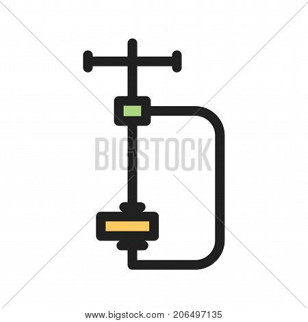 Clamp, tool, work icon vector image. Can also be used for Hand Tools. Suitable for use on web apps, mobile apps and print media