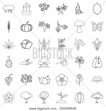 Flora icons set. Outline style of 36 flora vector icons for web isolated on white background
