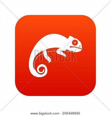 Chameleon icon digital red for any design isolated on white vector illustration