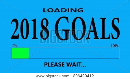 Progress Bar Loading with the text: 2018 goals