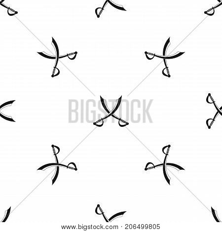Crossed sabers pattern repeat seamless in black color for any design. Vector geometric illustration
