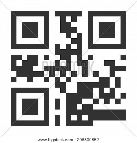 Sample QR Code Vector. Scan With Smart Phone. Monochrome Illustration