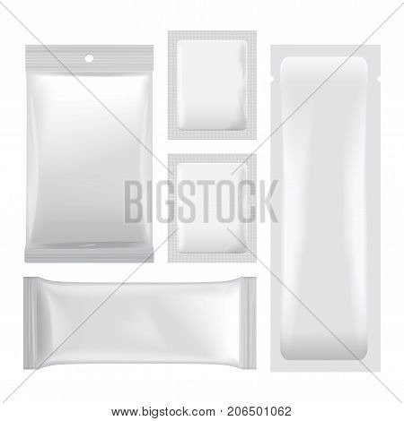 Set of White blank foil bags packaging for food, snack, coffee, cocoa, sweets, crackers, chips, nuts. Vector plastic pack mock up for your design
