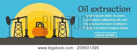 Oil extraction banner horizontal concept. Flat illustration of oil extraction banner horizontal vector concept for web design