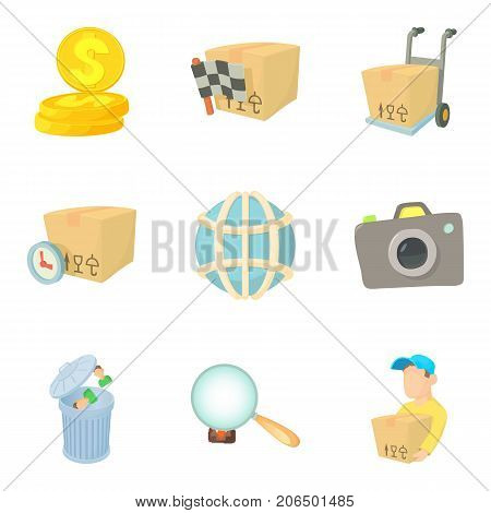 Worldwide company icons set. Cartoon set of 9 worldwide company vector icons for web isolated on white background