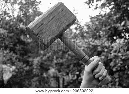 black and white photograph of a wooden hammer in his hand, like a hammer Torr