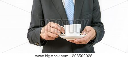 Man as an official, representative, agent or salesman with coffee cup