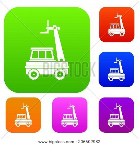 Cherry picker set icon color in flat style isolated on white. Collection sings vector illustration