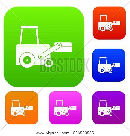 Truck to lift cargo set icon color in flat style isolated on white. Collection sings vector illustration
