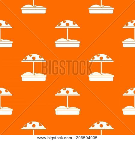 Sandbox with dotted umbrella pattern repeat seamless in orange color for any design. Vector geometric illustration