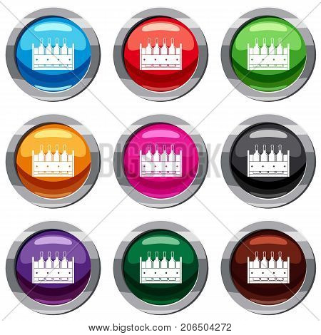 Four bottles of wine in a wooden box set icon isolated on white. 9 icon collection vector illustration