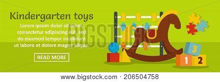 Kindergarten toys banner horizontal concept. Flat illustration of kindergarten toys banner horizontal vector concept for web design