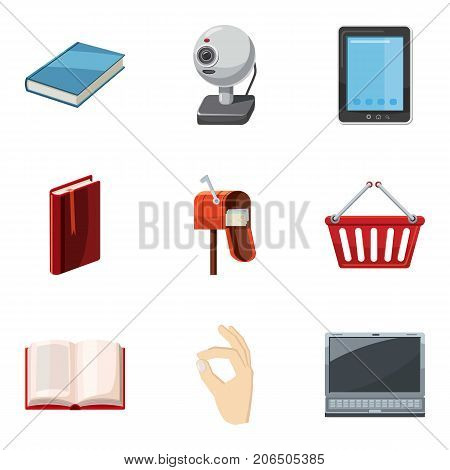 Postal business icons set. Cartoon set of 9 postal business vector icons for web isolated on white background