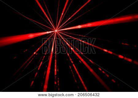 Red laser beams light effect on black background photo.