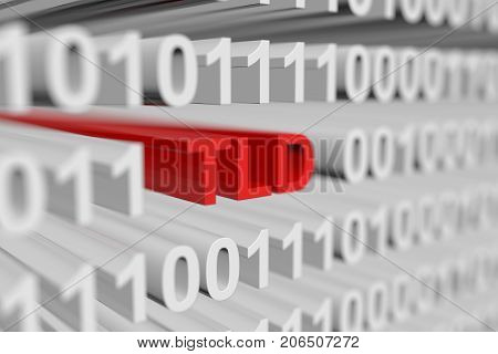 TLD as a binary code with blurred background 3D illustration