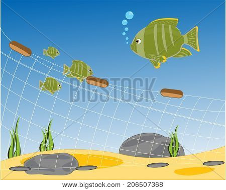 Fishing network on day of the ocean and fish