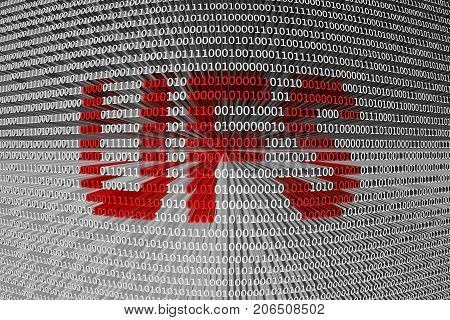 UFS in the form of binary code, 3D illustration