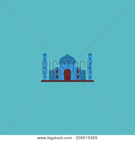 Flat Icon Taj Mahal Element. Vector Illustration Of Flat Icon India Mosque Isolated On Clean Background