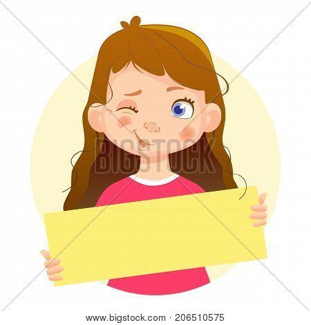 Winking Girl holding blank poster. Blank message illustration. Hands holding blank paper