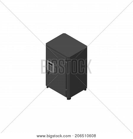 Strongbox Vector Element Can Be Used For Safe, Strongbox, Locked Design Concept.  Isolated Safe Isometric.