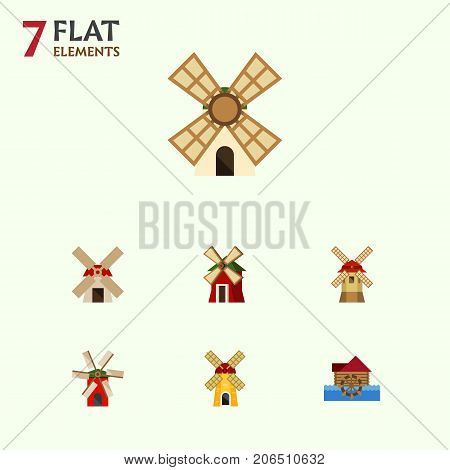 Flat Icon Alternative Set Of Power, Ecology, Windmill And Other Vector Objects