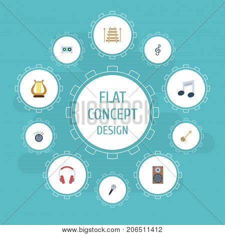 Flat Icons Audio Box, Musical Instrument, Lyre And Other Vector Elements
