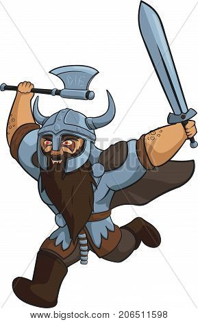 Vector Crazy Viking Warrior with Sword and Axe.