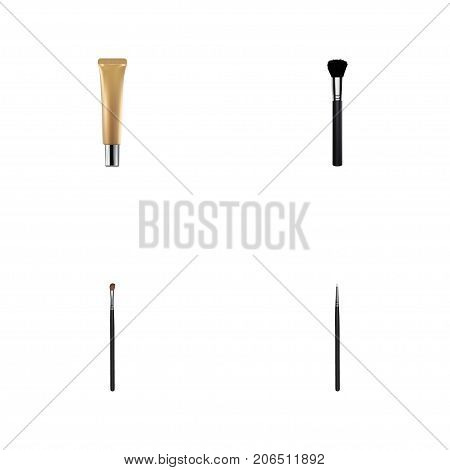Realistic Fashion Equipment, Eye Paintbrush, Collagen Tube And Other Vector Elements