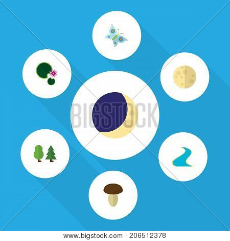Flat Icon Bio Set Of Tributary, Lunar, Lotus And Other Vector Objects