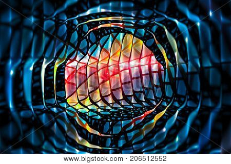 Colorful glowing galactic fist computer generated abstract background 3D rendering