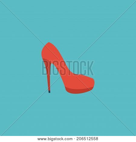 Flat Icon Stiletto Element. Vector Illustration Of Flat Icon Heeled Shoe Isolated On Clean Background