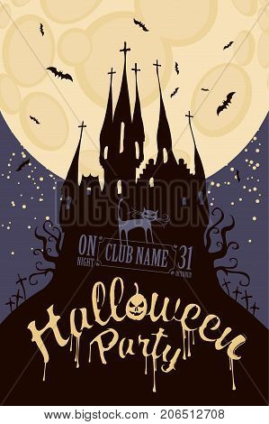 Vector banner for Halloween party with horrid cat and an old Gothic castle in the cemetery on the background of the full moon