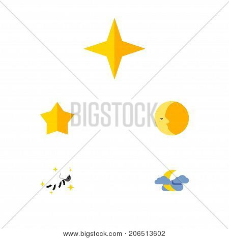 Flat Icon Bedtime Set Of Star, Starlet, Lunar And Other Vector Objects