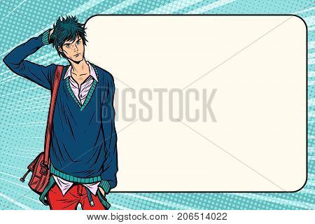 Insecure fashion student hipster manga anime style. Pop art retro vector vintage illustrations