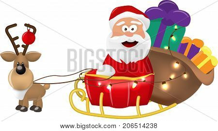 An illustration of Santa Claus riding in his Christmas Sleigh or Sled delivering presents. On a white background. Isolate. Vector