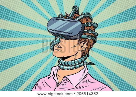 young man in a virtual reality, gadget parasite. Pop art retro vector vintage illustrations