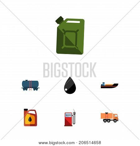 Flat Icon Oil Set Of Jerrycan, Petrol, Fuel Canister And Other Vector Objects