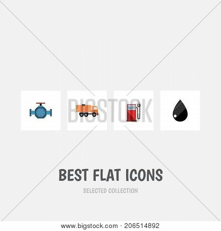 Flat Icon Oil Set Of Petrol, Flange, Droplet And Other Vector Objects