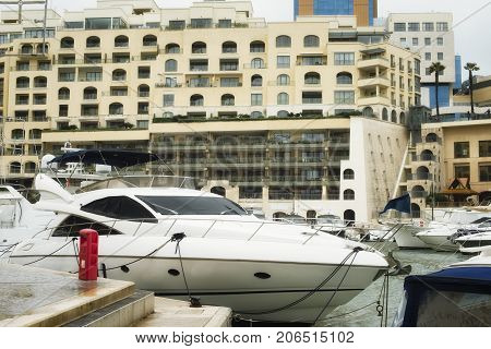 Yachts moored at Portomaso Marina in Malta