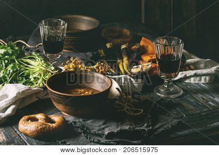 Table Setting With Soup Bowls