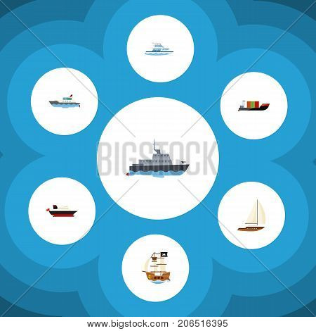 Flat Icon Boat Set Of Tanker, Boat, Ship And Other Vector Objects