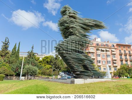 ATHENS, GREECE - SEPTEMBER 28: Dromeas sculpture on September 28, 2017 in Athens. Created by noted sculptor Kostas Varotsos in 1994, is a 12 meter tall glass and iron sculpture.